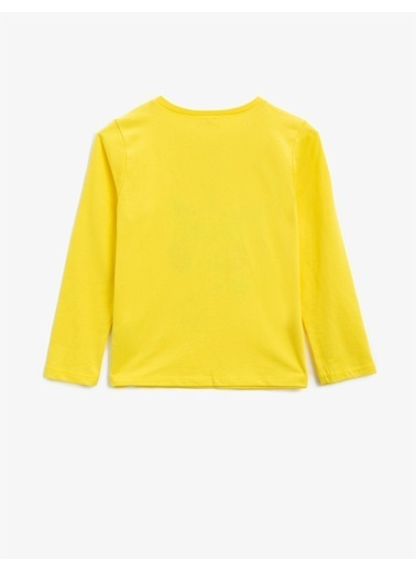 Koton Pamuklu Simli Baskili Bisiklet Yaka Uzun Kollu T-shirt Sarı